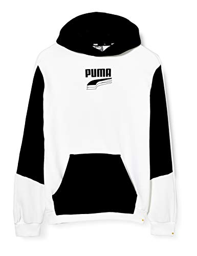 PUMA Jungen Rebel Block Hoody TR B Pullover, White, 128