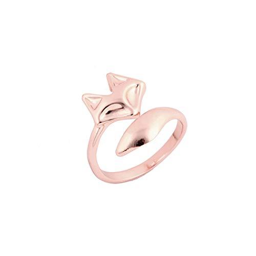 Fashion Rose Gold Verlobungsringe für Frauen Mädchen Chanlder verstellbar Fuchs Tier Knuckle Schmuck Geschenk