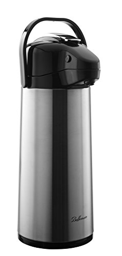 Bellemain 2.2 Liter Airpot Coffee Dispenser with Pump, Stainless Steel with Glass Lined Vacuum Insulated