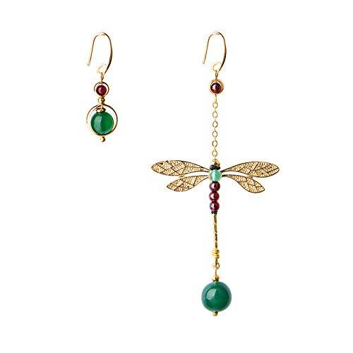 Rfvtgb Ethnische Vintage Libelle Stein Perle Asymmetrische Baumeln Ohrringe Mode Schmuck Drop Haken Ohrringe für Frauen Geschenk