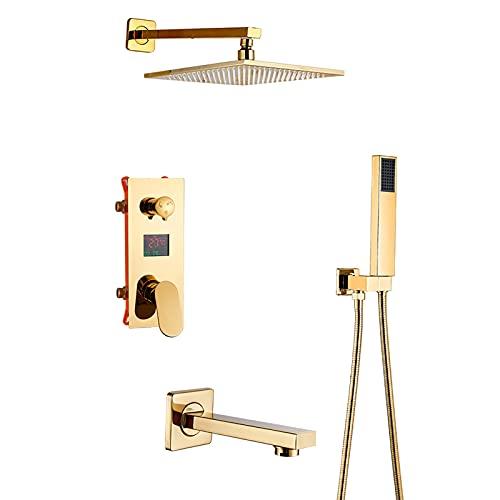 GLYYRLR Sistema de Ducha Oro Pantalla LED Conjunto de Ducha con Caño de Bañera, Latón Monomando Montaje en La Pared Columna de Ducha con Alcachofa de Ducha, Ducha de Mano,10 Inch
