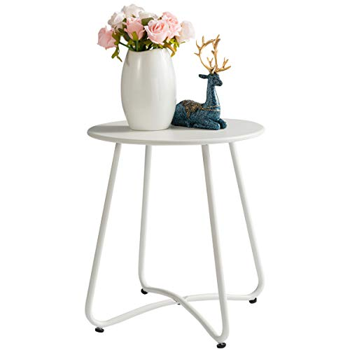 HollyHOME Small Round Patio Metal Side Snack Table, Accent Anti-Rust Steel Coffee Table for Garden, Modern Weatherproof Outdoor End Table, (H) 17.55' x(D) 15.60', White