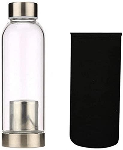 Botella de té con filtro de vidrio transparente portátil de 400 ml con tapa, taza de té creativa de flores con cesta de filtro de acero inoxidable, té (olla de interior)