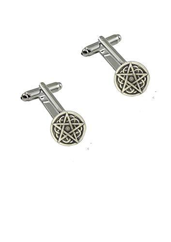 R239 Manschettenknöpfe Pentagramm aus feinem englischen Zinn
