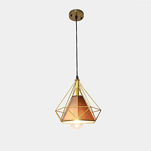 Luz pendiente E27 diamante se vea Droplight nórdica Hierro forjado estilo de la lámpara simple línea lateral adaptable a comedor, sala de estar, dormitorio, pasillo, Entrada Lámpara de suspensión