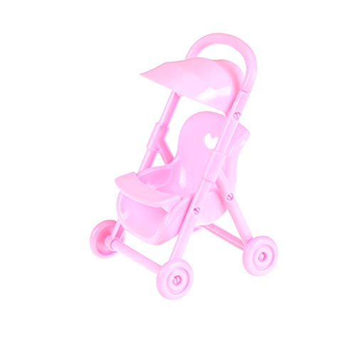 RUIYELE Mini carrito de bebé, 1 pieza rosa simulación cochecito cochecito miniatura juguete para niños juego de rol para casa de muñecas, muebles de guardería, juguete para casa de muñecas