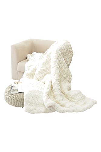 "Price comparison product image HappyCare Textiles HCT BKT-002 Luxury Quilted Faux Fur Throw Blanket,  50"" by 60"",  Ivory / White"