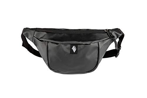 Hip Bag, Stylische Brusttasche, Gürteltasche mit 2 Fächern, Travel Pack, Heritage Umhängtasche, Festival Hüfttasche, Bauchtasche, 25 x 14 x 8cm, Tough Black