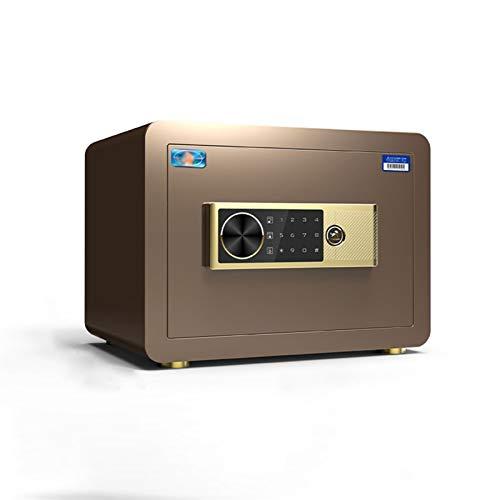XHMCDZ Electrónica de Huellas Dactilares Bloqueo de Fuego incombustible Digital Home Box combinación de aleación de Acero Gota Segura (Color : Brown)