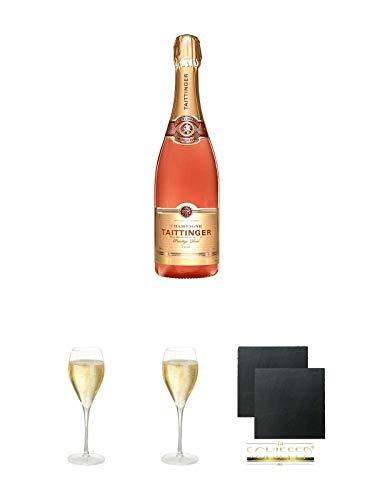 Taittinger Prestige Rosé Brut Champagner 0,35 Liter + Taittinger Champagner Glas + Taittinger Champagner Glas + Schiefer Glasuntersetzer eckig ca. 9,5 cm Ø 2 Stück