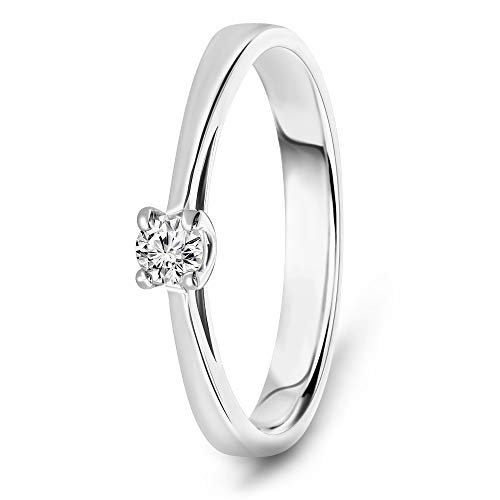 Miore classic engagement ring for women in 14 kt 585 white gold with solitaire diamond 0.10 ct
