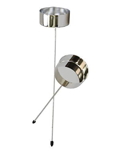 4er SET Teelichthalter 20cm LANG Kerzenstecker XL Adventskranz Stecker SILBER Teelichthalter zum Stecken 42mm Kerzenhalter Metall Kerzenhalter für Kränze Stumpenkerzenhalter Kranz Stecker Steckhalter