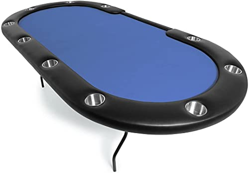 BBO Poker Aces Pro Folding Poker Table for 10 Players with Felt Playing Surface, 96-Inch Oval (Blue)