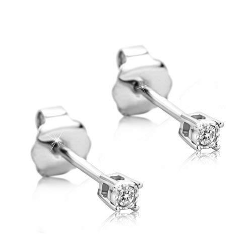 Orovi Ohrstecker Diamant Ohrringe Set,Damen Weißgold Ohrstecker 9Karat (375)Brillanten 0.02crt