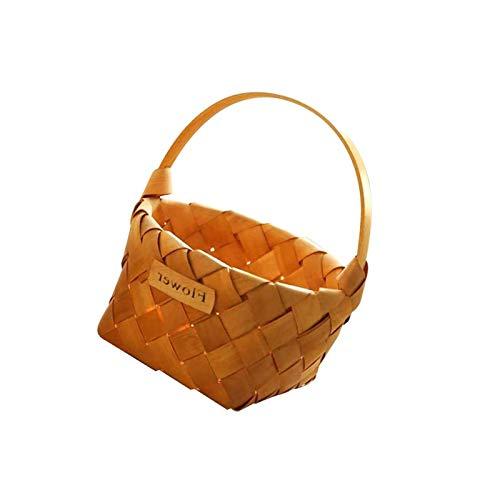 BANGSUN Weidenkorb, handgewebt, aus Holz, tragbar, traditionell, groß, naturfarben