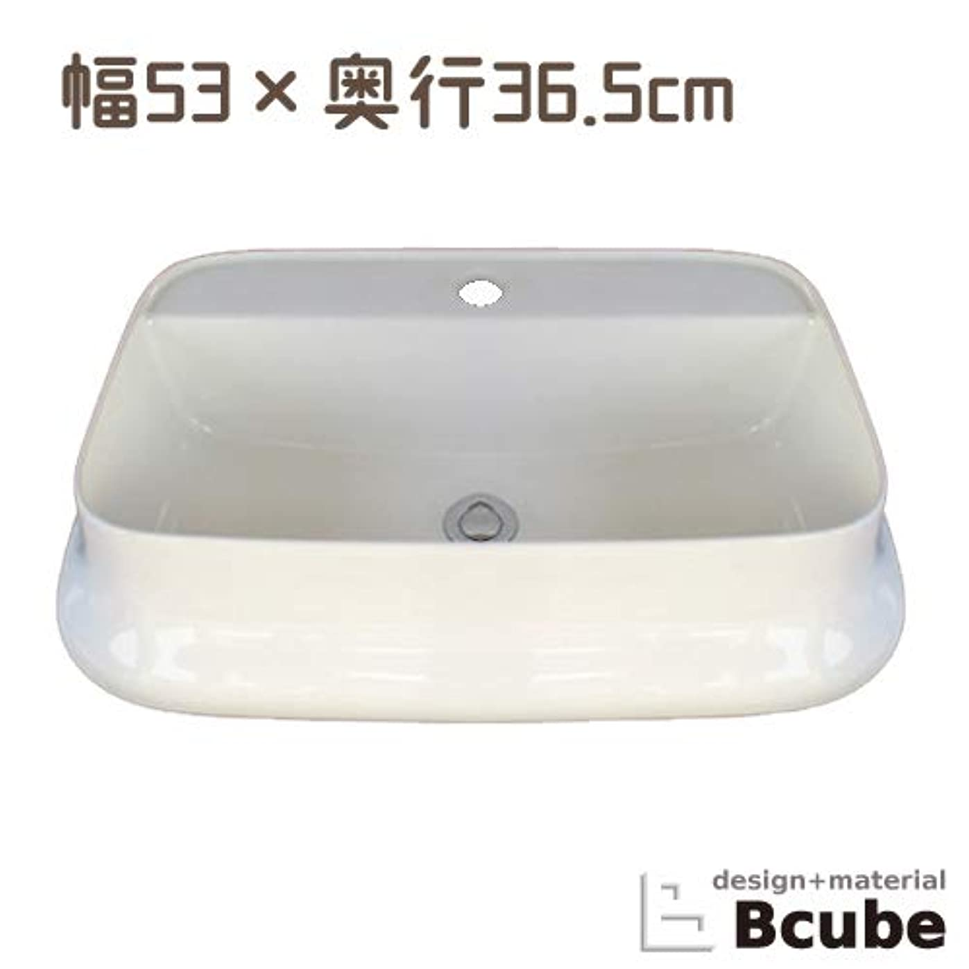 変形反論アッパー洗面ボウル 陶器 オンカウンタータイプ オーバーフロー無し スクエア ホワイト 幅53×奥行36.5×高14cm INK-0402038H