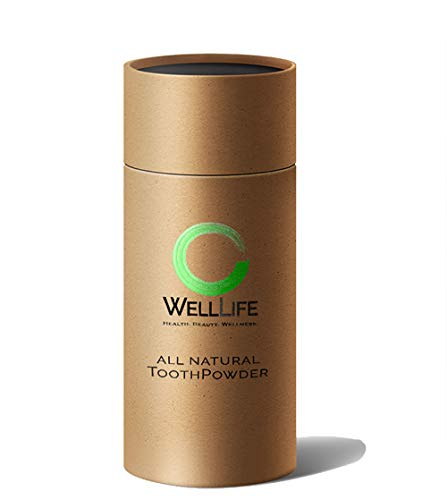 WELL LIFE ORGANICS - ACTIVATED CHARCOAL WHITENING TOOTH POWDER, MADE IN USA, Best Natural Whitener, Fluoride Free, Sulfate Free, Organic, Sugar Free, Biodegradable Shaker Container! 2X as much!