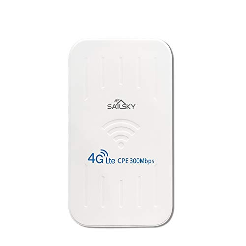 Tooart Enrutador 4G, XM206 4G Router 300Mbps LTE Router Impermeable para Exteriores CPE WiFi móvil portátil con Ranura para Tarjeta SIM Versión de la UE
