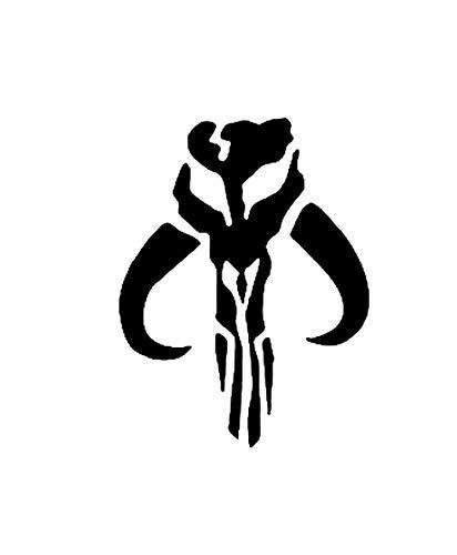 Nok Nok LLC NOK785 - Adhesivo de Vinilo con símbolo de mandaloriano de Hierro | diseño de corazón de Hierro | Negro | 5.0 x 4.0 Pulgadas | NOK785