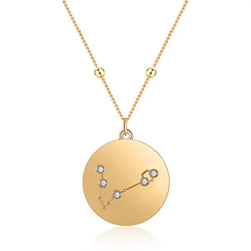 XIANGDONG Sternbild Halskette, Tierkreis Halskette, Anhänger Halskette, 18 Karat vergoldet, Unisex