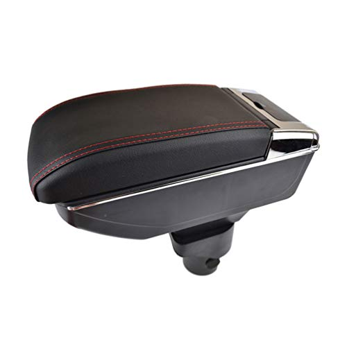 JABL PU Cuero Coche Apoyabrazos Caja, para Nissan March Micra K13 2011-2016 Dual Layer Central Consolas Impermeable Almacenamiento Armrests Storage Box, Car Interior Styling Accesorios
