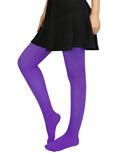 HDE Womens Solid Gradient Color Stockings Opaque Microfiber Footed Tights,XS-M,Violet