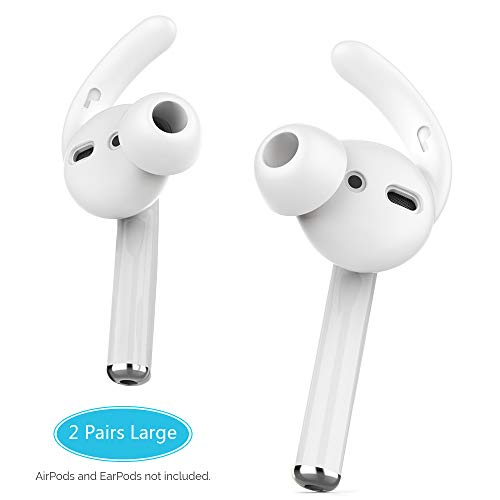 AhaStyle Silicone Ear Hooks Earbuds Covers [Sound Quality Enhancement] Compatible with Apple AirPods 2 and 1 or EarPods(Clear-2 Pairs Large)