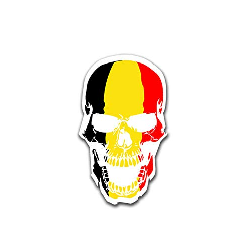Aufkleber/Sticker Belgien Skull Schädel Brüssel Flagge Totenkopf 7x4cm A1494