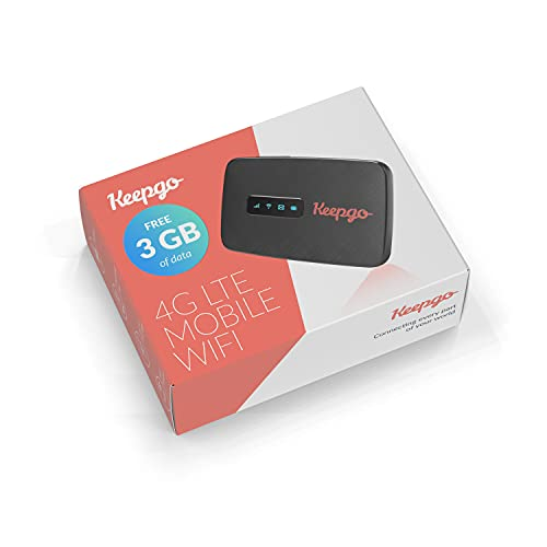 Keepgo Lifetime Mobile Travel WiFi Hotspot + 3GB Data   3G/4G LTE   Data Valid for Life   100+ Countries   Portable Pocked-Sized...