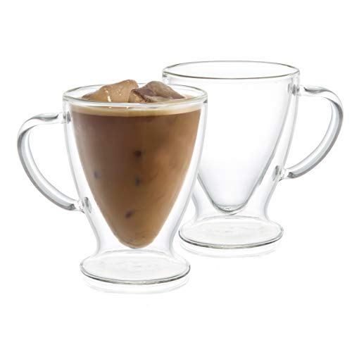 JoyJolt Double Wall Insulated Glass Coffee Cups (Set of 2)