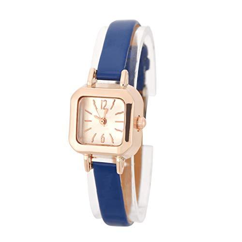 時計、腕時計アナログPUストラップ腕時計ギフト用友達用(Navy blue)