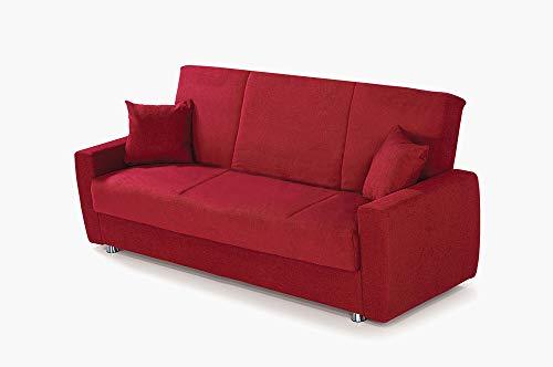 Alfa Sofa Divano Tre posti con meccanismo a clic clac (Apertura a Libro) e vano Contenitore Paros, 225x72x93cm (LxPxA) (Tessuto 05 - Colore 3 - Bordeaux)