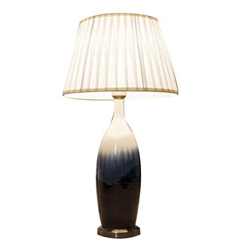 LSNLNN Lámparas de Mesa, Lámparas de Mesa de Iluminación para Interiores, Lámpara de Estilo de Granja de la Granja Lámpara de Mesa de Cerámica Azul Moderna Base de Re Simple Adecuado para Cafés Estud