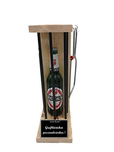 * Personalisierbar Die Eiserne Reserve ® Black Edition mit Beck´s Bier 0,50L incl. Säge zum zersägen der Stäbe. lustige Geschenk - Die Geschenkidee