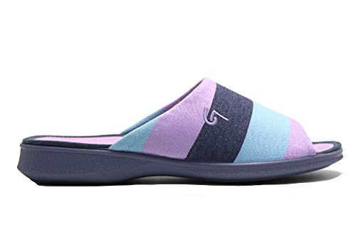 Garzón - Zapatillas de IR por casa destalonadas, con cuña Media, Suela de Goma Antideslizante, para: Mujer Color: Lila Talla:37