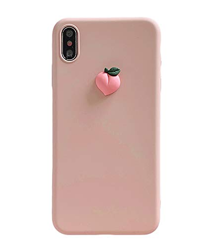 IPLUS 3D Fruit Case Compatible with iPhone XR, Cute Carton Peach on Body, Slim Gel Skin Soft TPU Bumper Protective Case Shell Cover(Pink, iPhone XR)