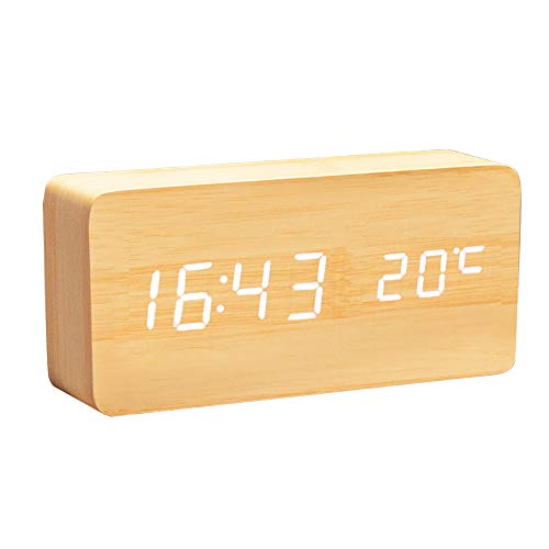 Lancoon Horloge Numérique en Bois - Réveil à LED Multifonctions avec Affichage De L'heure/De La Date/De La Température Et Commande Vocale pour Le Voyage à Domicile - AC11Yellow_White