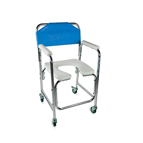 Mobiclinic Toilettenstuhl, Manzanares, Fahrbar, Aluminium, mit gepolsterten Armlehnen, Blau, Toilettensitz für Ältere und Behinderte, WC Sitz, Leichtgewicht
