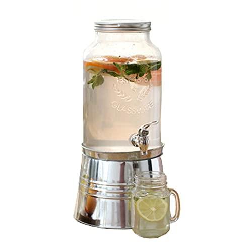 Lwieui Dispensador de Bebidas Dispensador De Bebidas para Bebidas De Beato De Masón De Cristal con Soporte De Cubo De Hielo 6L Conjuntos de Bebidas (Color : Clear, Size : 23.5x45cm)