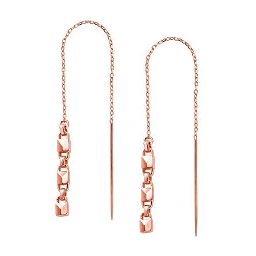Michael Kors Pendientes de plata de ley chapados en oro rosa de 14 quilates, con enhebrador de candado, MKC1137AA791