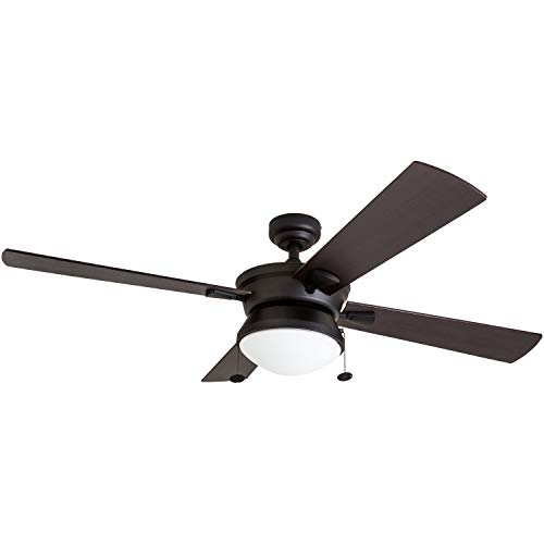 """Prominence Home 50345-01 Auletta Outdoor Ceiling Fan, 52"""" ETL Damp Rated 4 Blades, LED Frosted Contemporary Light Fixture, Matte Black"""