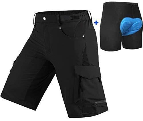 Ally MTB Hose Herren Radhose, Mountainbike Hose Fahrradhose Herren Kurz, Outdoor Sport Herren Radlerhose MTB Bike Shorts (Schwarz mit Pad, XL/cm(Waist:89-94,Hip:100-105))