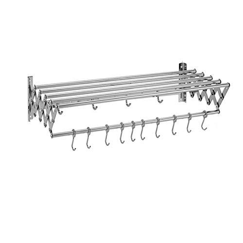 MHCYKJ Tendedero Pared Plegable Extensible Compacto Estante para Secado De Ropa Aluminio Tipo AcordeóN Endedero Colgar En La (Color : 10 Hooks, Size : 60cm/23.6in)