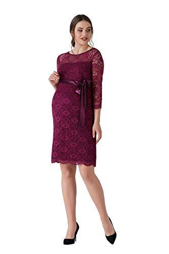 M.C. Purple kanten jurk zwangerschapsjurk - dames lila zomerjurk van kant zwangerschapsjurk avondjurk cocktailjurk bruiloft standsamt - knielang