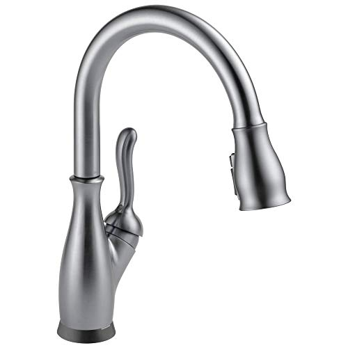 Leland Single-Handle Touch Kitchen Sink Faucet with Pull Down Sprayer, Touch2O and ShieldSpray Technology, Magnetic Docking Spray Head, Arctic Stainless - Delta Faucet 9178T-AR-DST