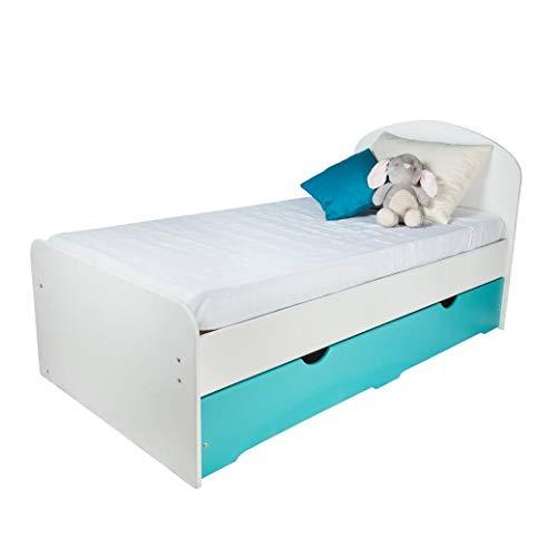 Cama Doble Nido para Niñas y Niños - Blanco & Azul Turquesa   Estilo Moderno