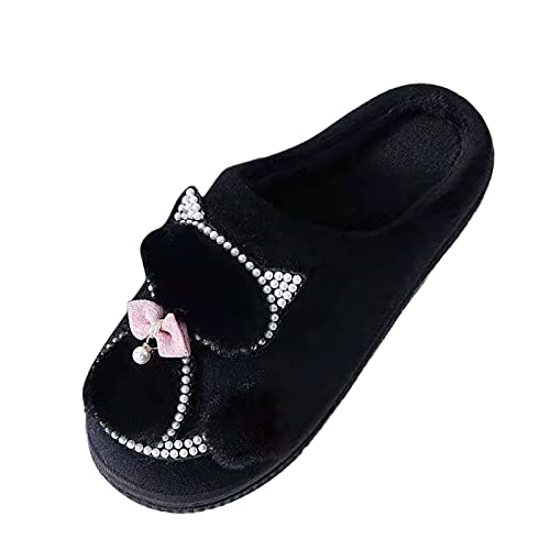 BIBOKAOKE Pantoufles d'hiver chaudes en peluche pour femme - Chaussons fermés en mousse à mémoire de forme - Semelles souples antidérapantes - Chaussures de refuge