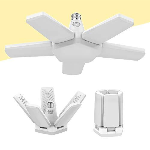 Tebio Lámpara LED de garaje ajustable, 65 W, E27, 6500 K, lámpara de garaje, ajustable, para garaje, almacén, taller, sótano, gimnasio, cocina (1 unidad)