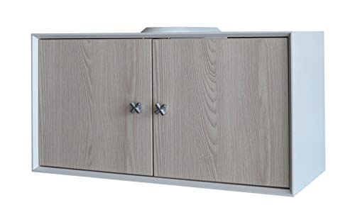 FACKELMANN Waschbeckenunterschrank IX! / Badschrank mit Soft-Close-System/Maße (B x H x T): ca. 67 x 35 x 30 cm/Möbel fürs WC oder Badezimmer/Korpus: Weiß/Front: Braun/Breite 67 cm
