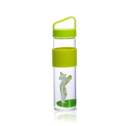 Botella de agua portátil para deportes de SOOMILE, botella de agua de cristal, para exteriores, camping, correr, gimnasio, yoga, pilates, al aire libre, ciclismo, viajes, 500 ml, verde